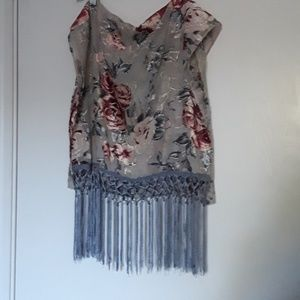 Blue tasseled shawl
